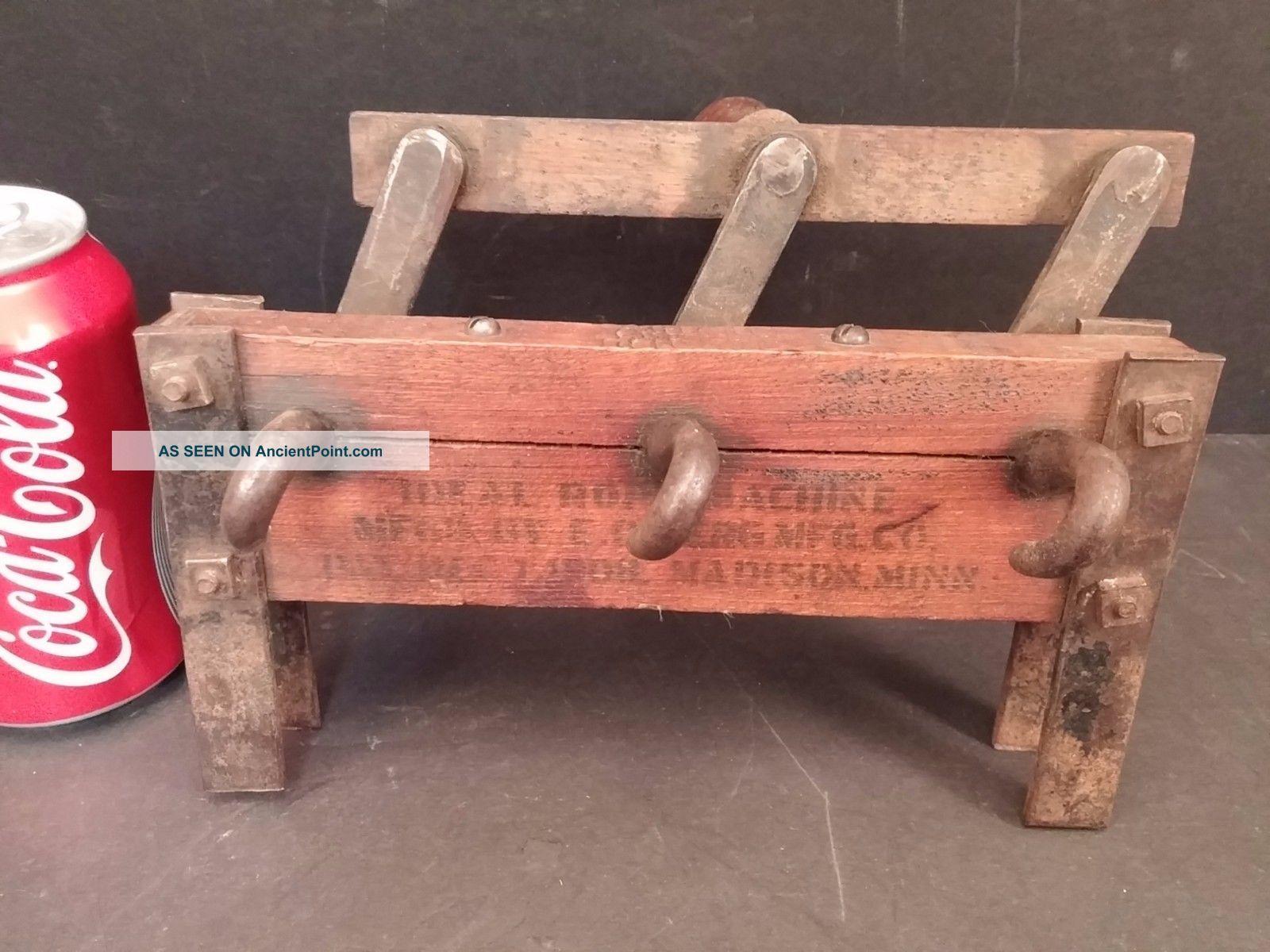 Primitive Ideal Rope Making Machine By E.  O.  Berg Madison Minn Mn Maker 12 - 1908 Primitives photo