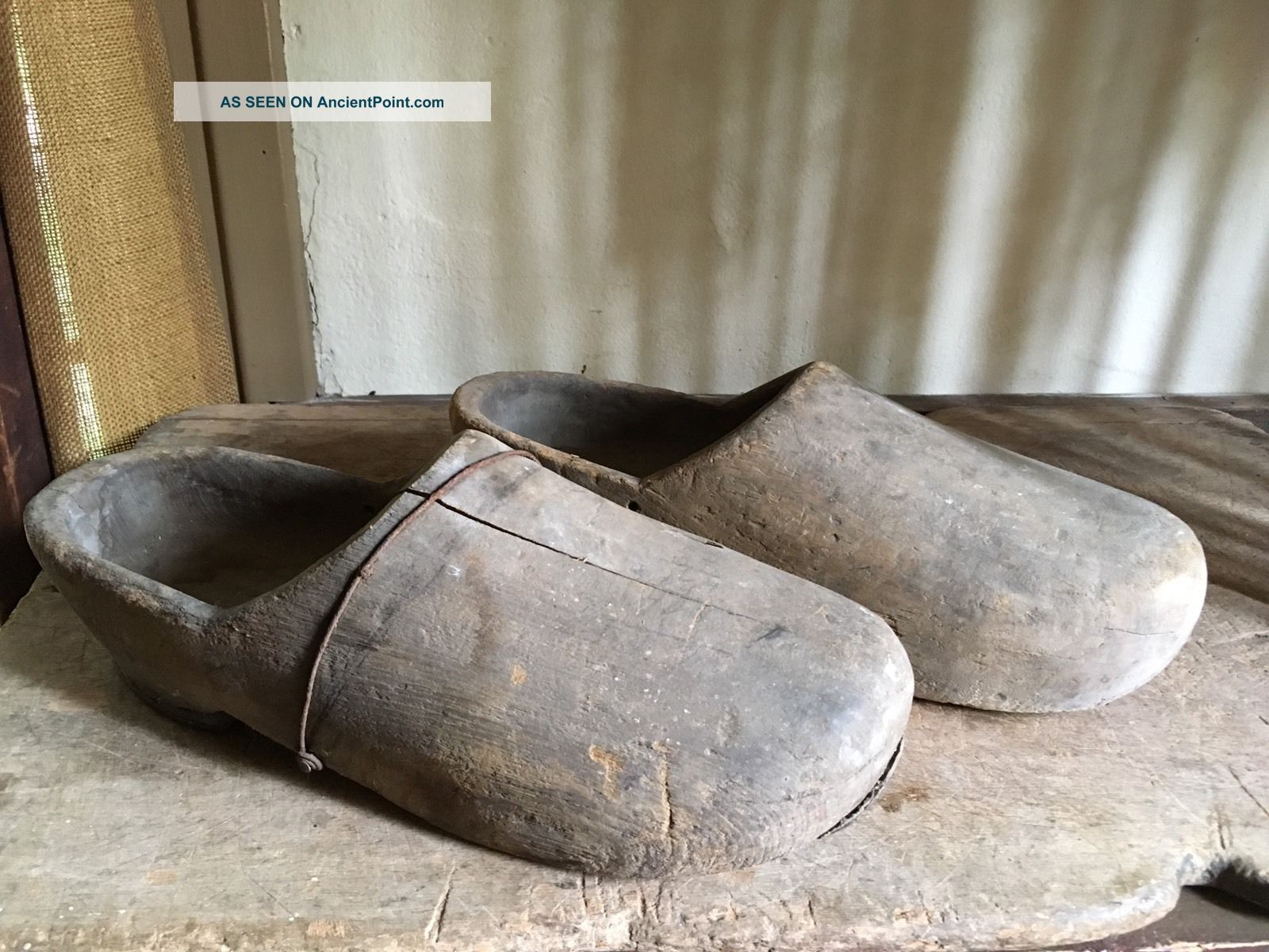 19th C Old Antique Men ' S Wooden Treen Shoes Early Metal & Leather Repairs Aafa Primitives photo