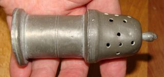 Antique Pewter Sugar Shaker,  Worn Mark,  19th Century photo