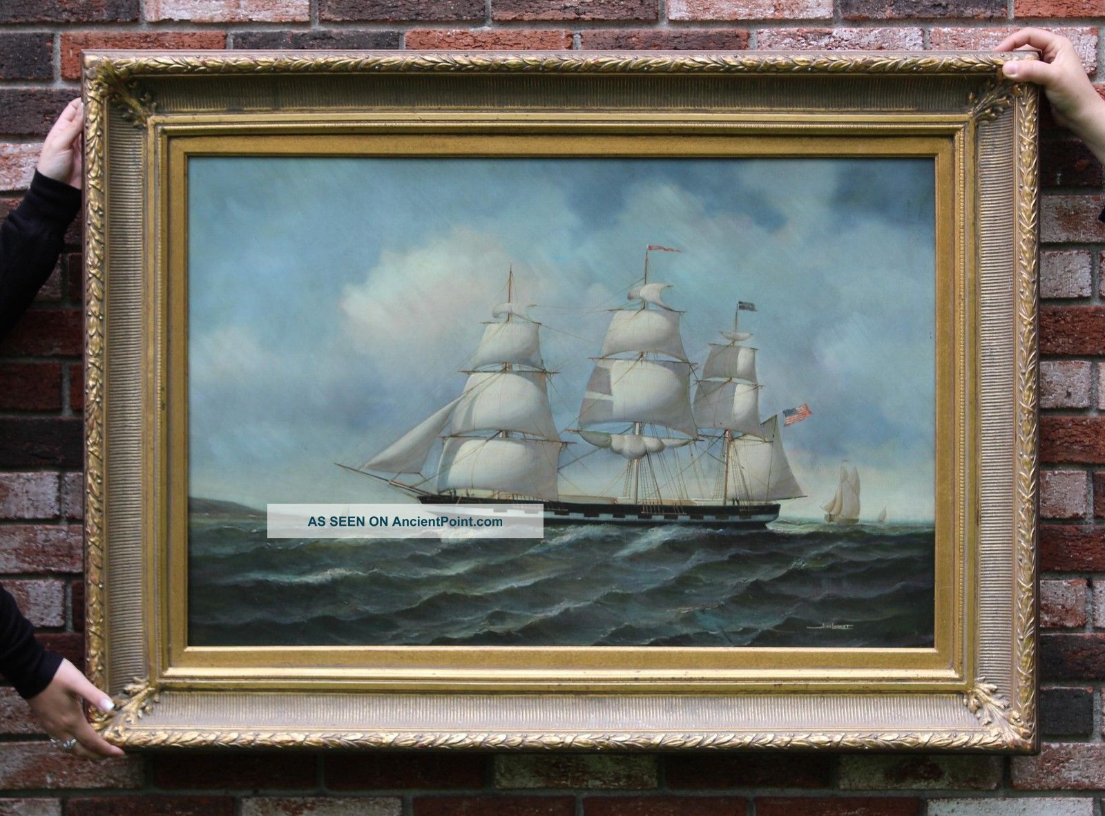 70s Jean Michel Laurent 20 - Gun Sloop Of War Ship Maritime Oil Painting Other Maritime Antiques photo