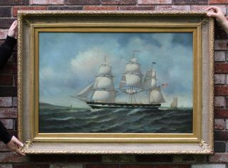 70s Jean Michel Laurent 20 - Gun Sloop Of War Ship Maritime Oil Painting photo