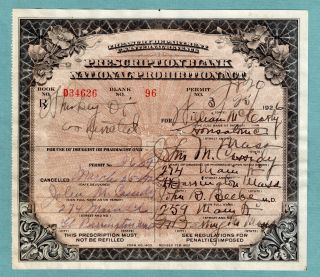 Prohibition Prescription Medicinal Whiskey Antique Pharmacy Doctor History Bar photo