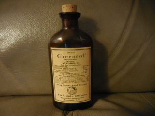 Vintage Upjohn Pharmacy Medical Bottle Label Cheracol With Codeine. photo