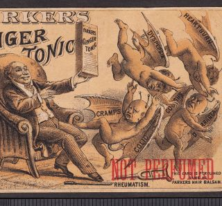 Demon Diseases Female Weakness Remedy Parkers Ginger Tonic Hair Advertising Card photo