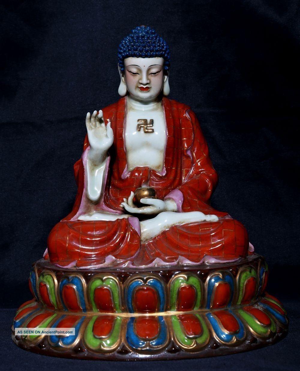 Large Rare Antique Chinese Glaze Porcelain Buddha Statue Fa335 Figurines & Statues photo