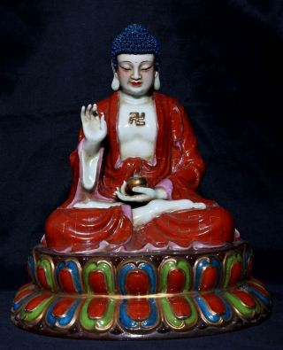 Large Rare Antique Chinese Glaze Porcelain Buddha Statue Fa335 photo