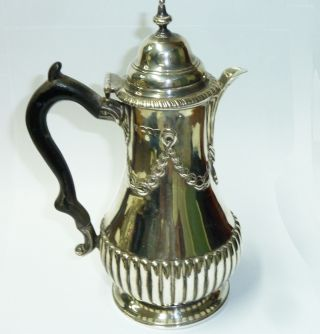 Antique Good Solid Sterling Silver Bachelors Coffee Pot - 321g - London 1895 photo