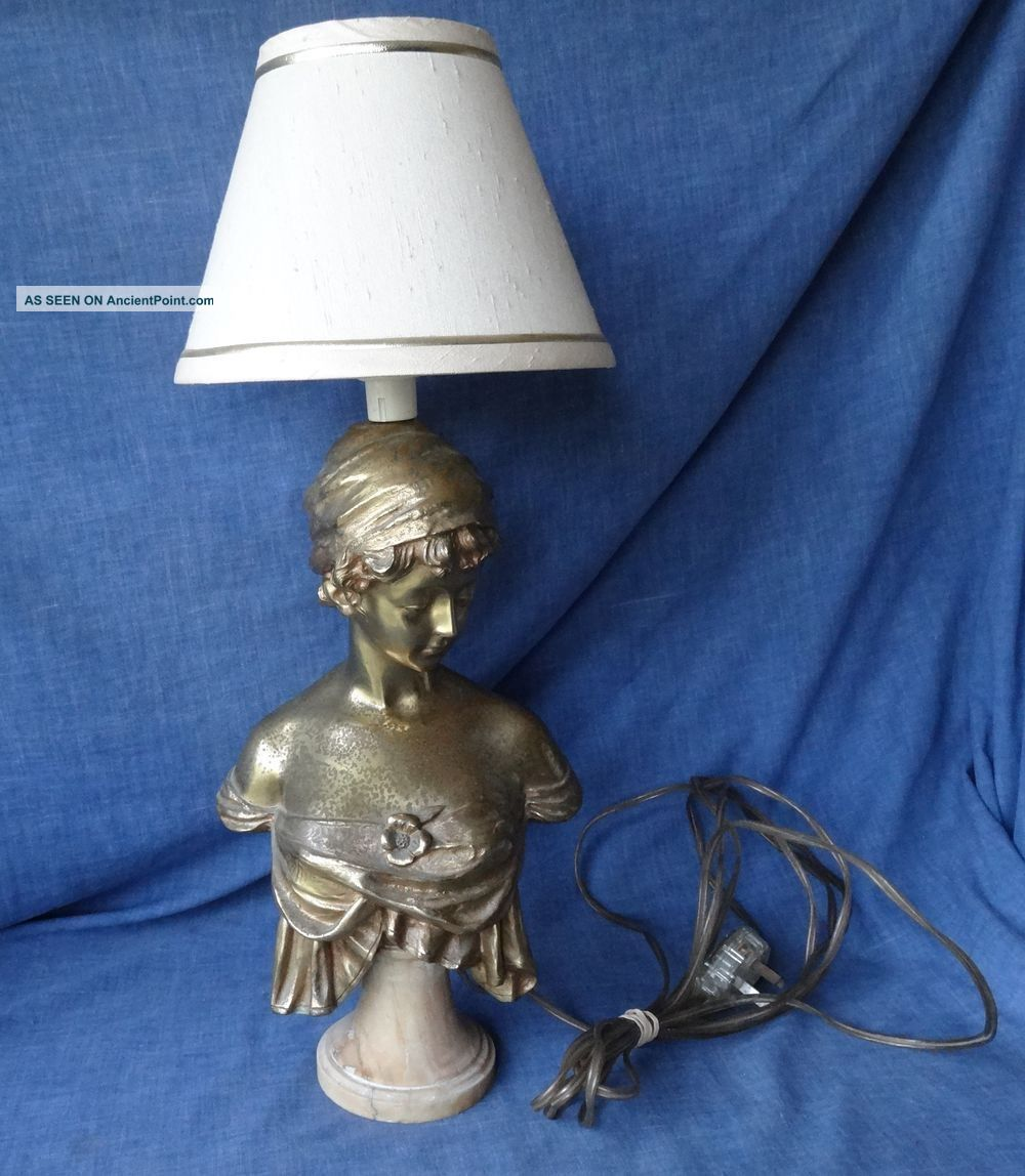 Regency / Victorian Bronze /brass Bust By French Artist Rene Marquet,  Now A Lamp Other Antique Decorative Arts photo