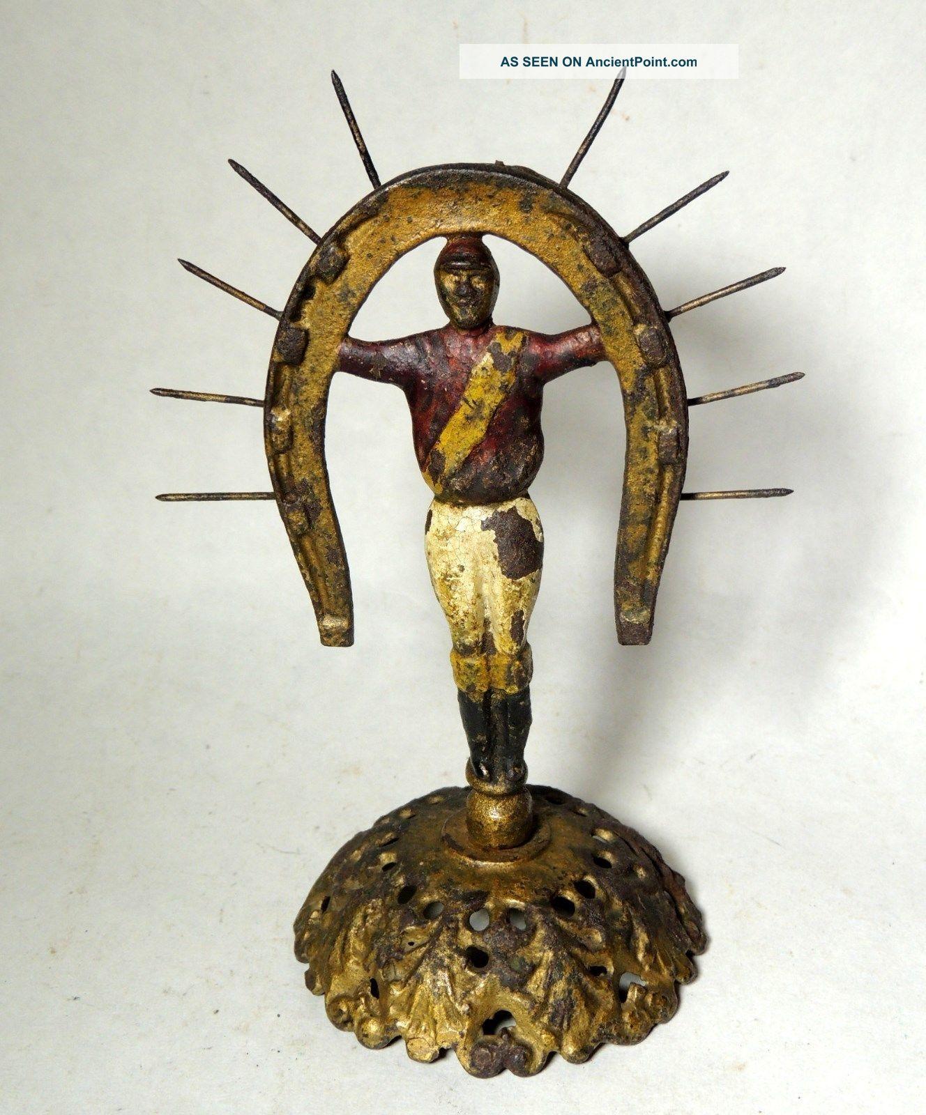 Antque Vtg 19th Century Cast Iron Horseshoe Jockey Statue Horse Race Trophy? Metalware photo