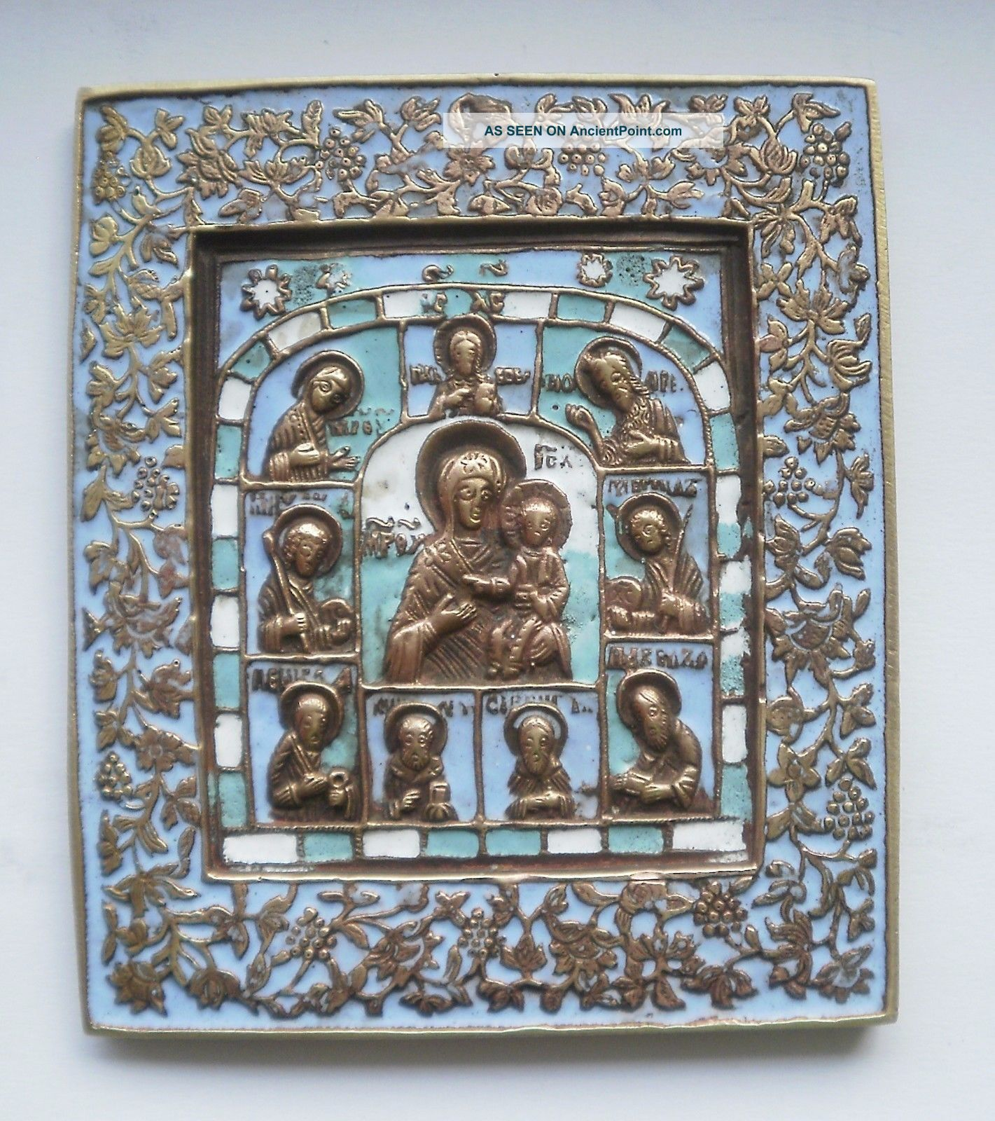 19th Century Russian Antique Orthodox Bronze Enamel Icon Roman photo
