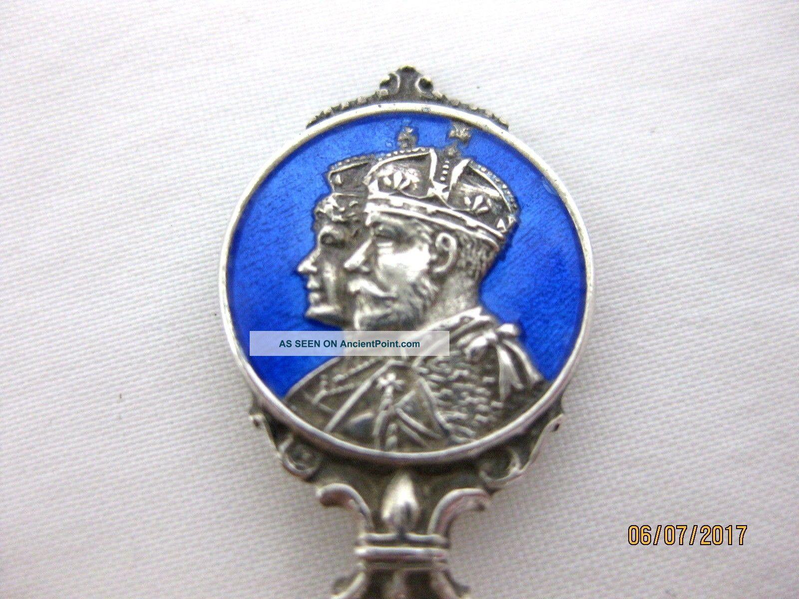 Solid Silver Commemorative Tea Spoon George V Hallmarked Birmingham 1935 Napkin Rings & Clips photo