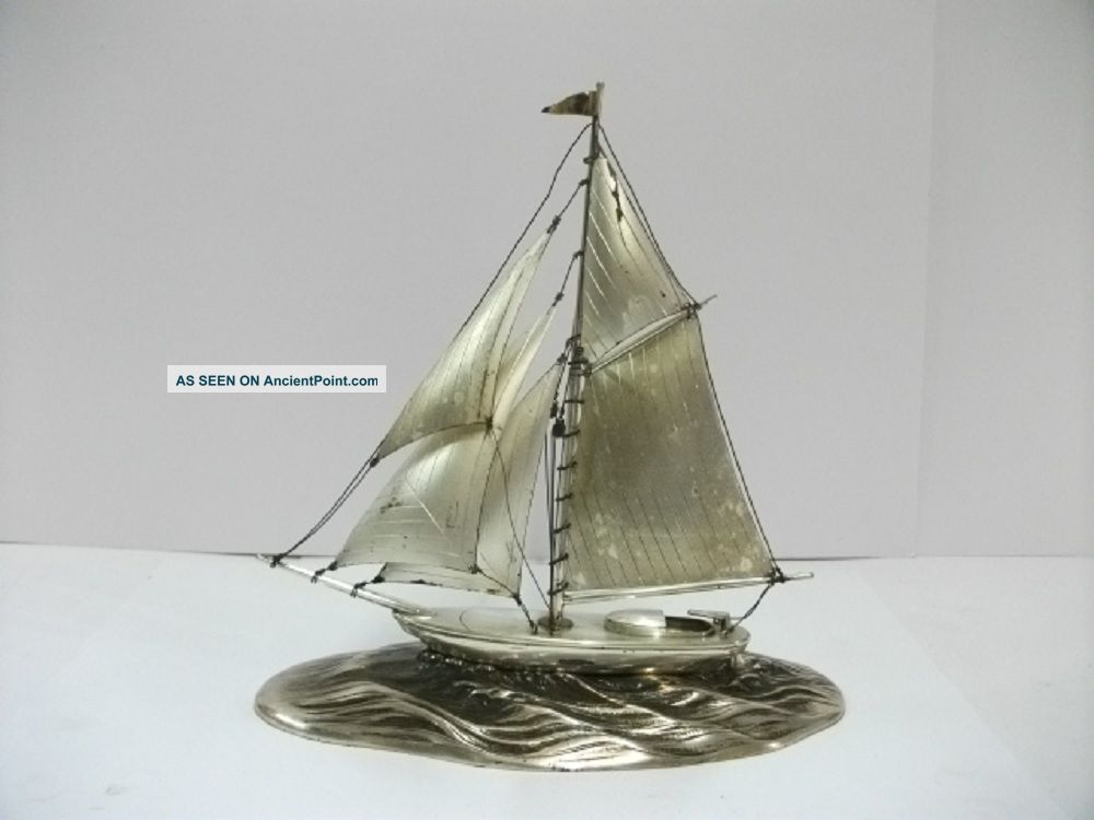 The Sailboat Of Sterling Silver Of Japan.  106g/ 3.  73oz.  A Japanese Antique. Other Antique Sterling Silver photo