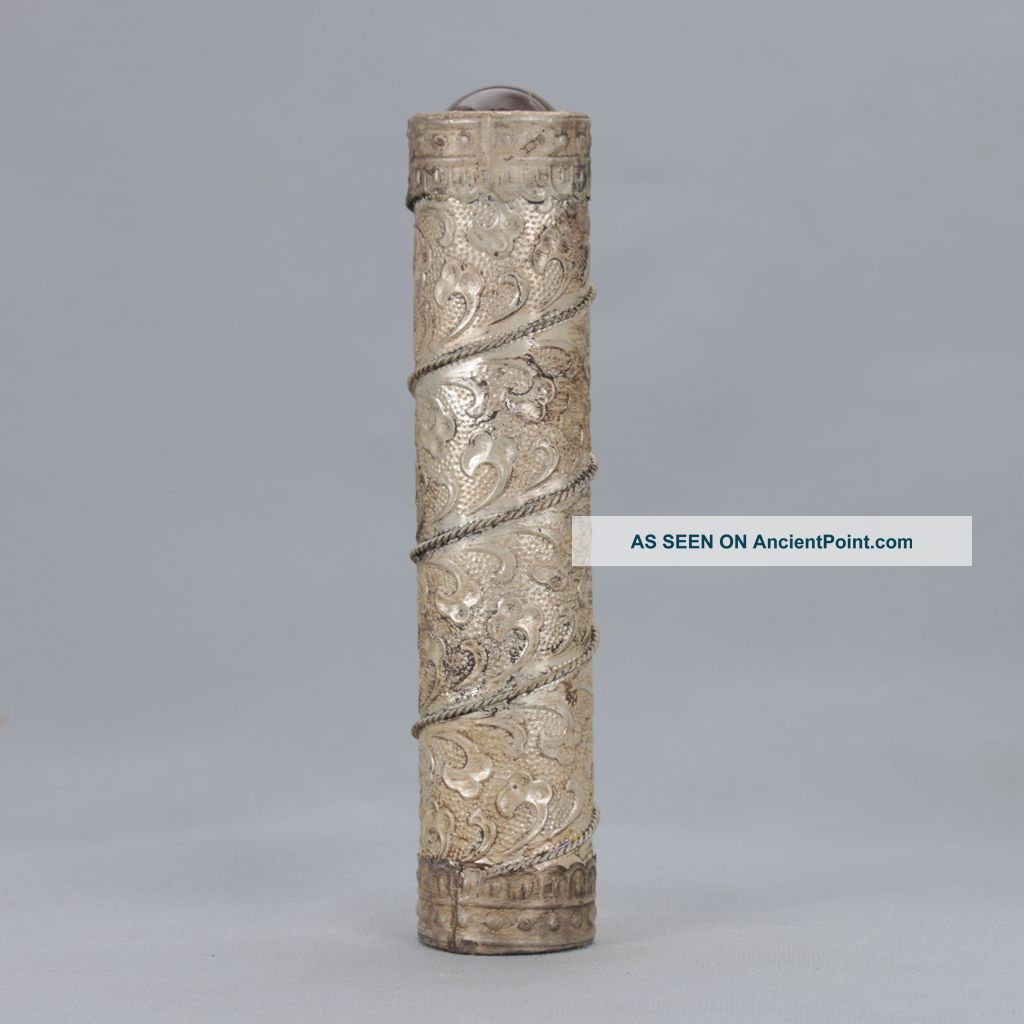 Old Peking (18 19th) Tibet Silver Auspicious Clouds Motif Kaleidoscope Other Chinese Antiques photo