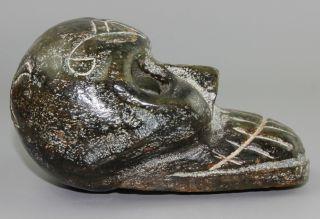 1200g Chinese Hongshan Jade Carved Jade Skull Statue Long 14cm photo
