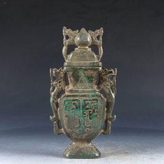 Chinese Old Xiu Jade Handwork Carved Pattern Vase Pj211 photo