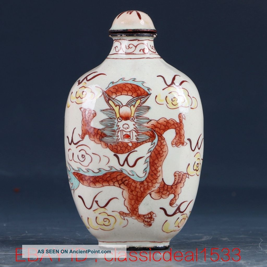 Chines Cloisonne Hand Painting Dragon Snuff Bottle W Qianlong Mark Pa0223 Snuff Bottles photo