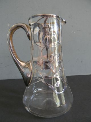 Antique Glass Pitcher With Sterling Silver Overlay photo