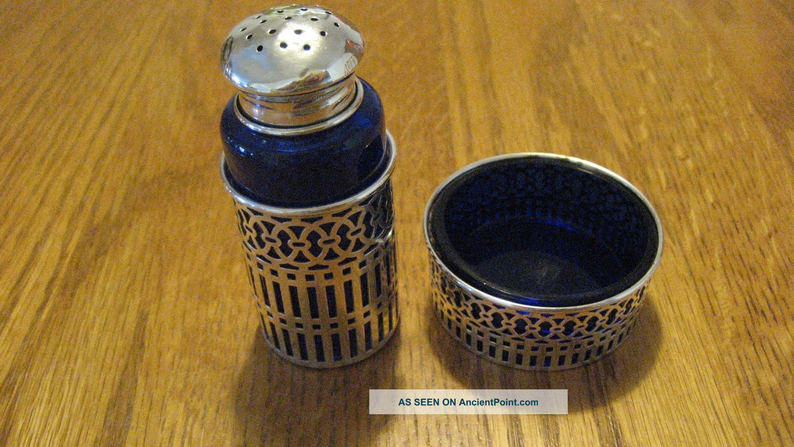 Gorham Sterling Silver Cobalt Glass Salt Cellar & Shaker Salt & Pepper Shakers photo