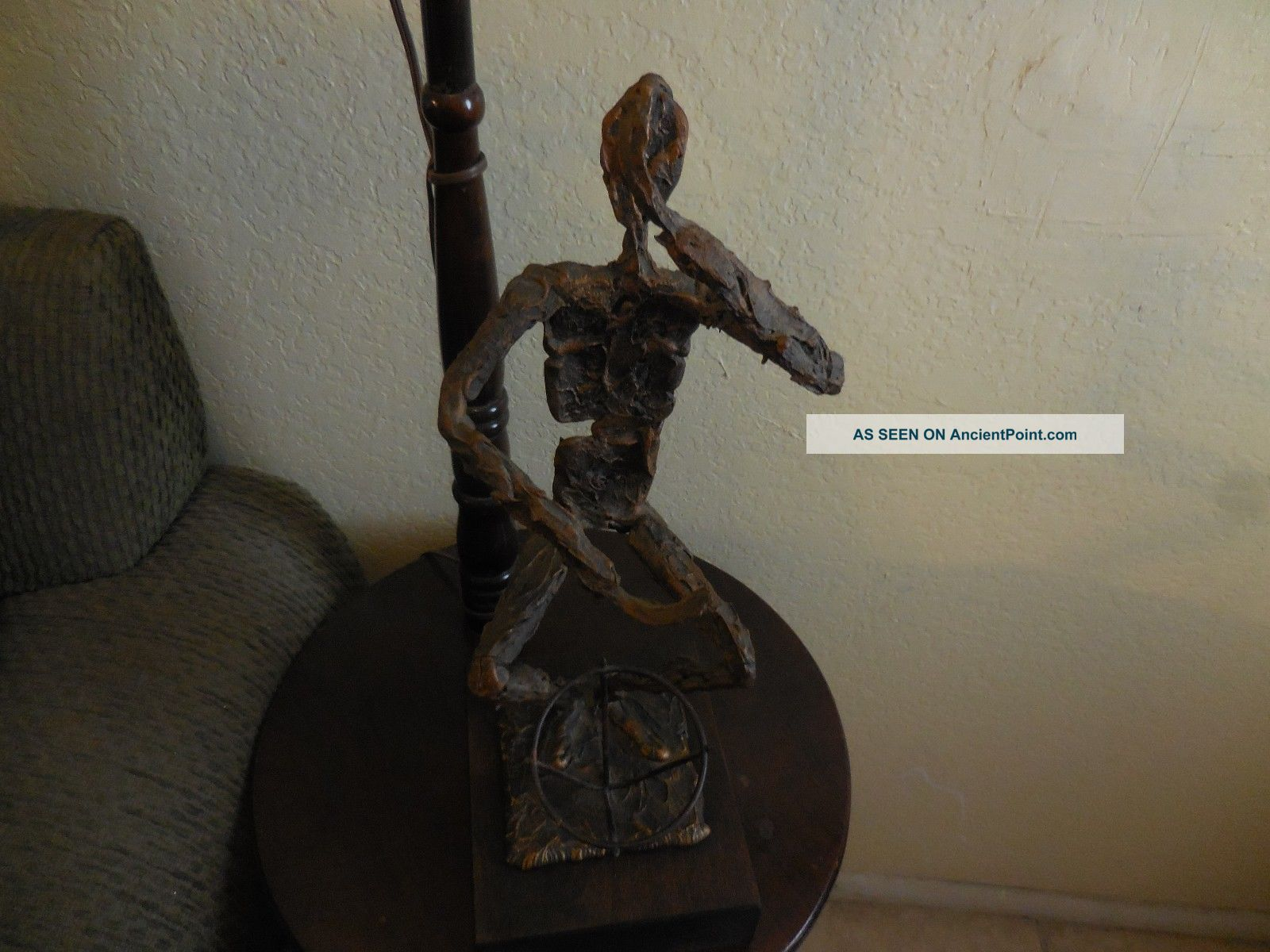 Vintage Bronze & Copper Rough Textured Musician Drummer Hand Made Sculpture Sculptures & Statues photo