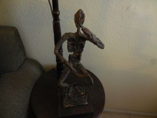Vintage Bronze & Copper Rough Textured Musician Drummer Hand Made Sculpture photo