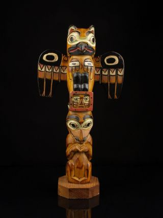 A Vintage Alaskan Carved Wood Totem Pole,  Signed