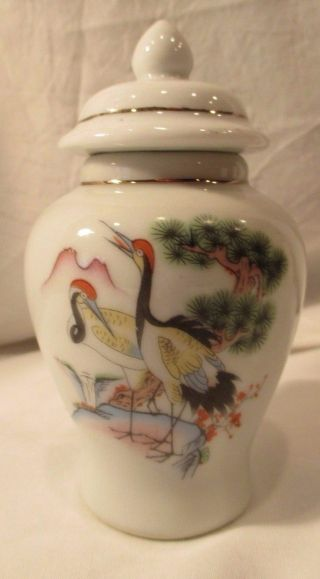 Vintage Tiny Porcelain Covered Urn Cranes Waterfall 4