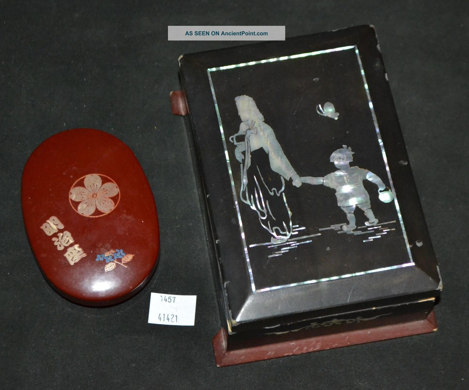 Thriftchi Mother Of Pearl Inlaid Wooden Box & Small Asian Oval Box Boxes photo