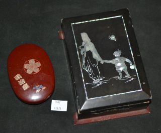 Thriftchi Mother Of Pearl Inlaid Wooden Box & Small Asian Oval Box photo
