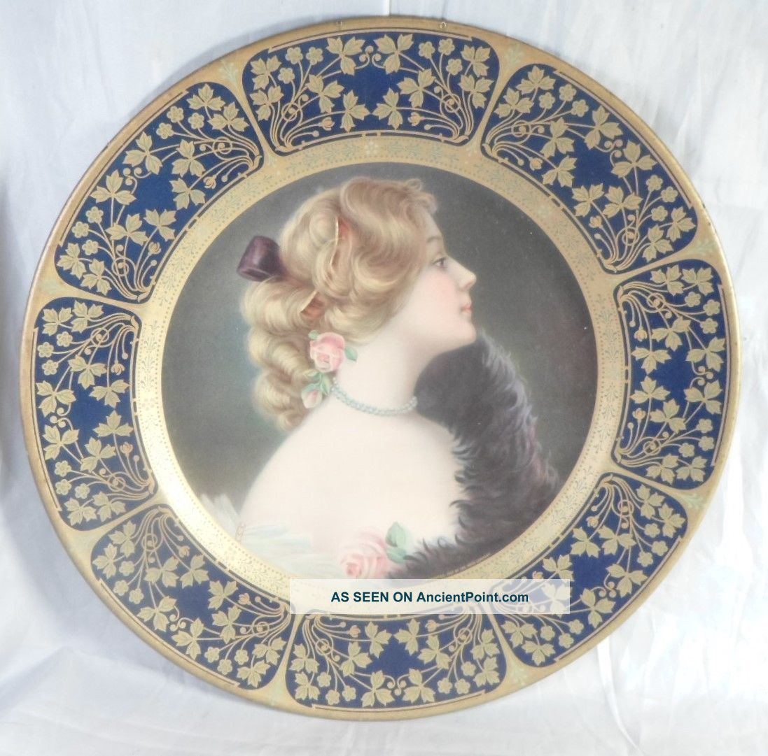 1907 Tin Lithograph Vienna Art Portrait Plate Meek Company Blue Gold Border Metalware photo