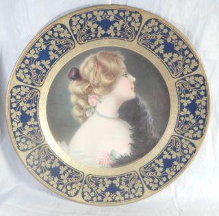 1907 Tin Lithograph Vienna Art Portrait Plate Meek Company Blue Gold Border photo