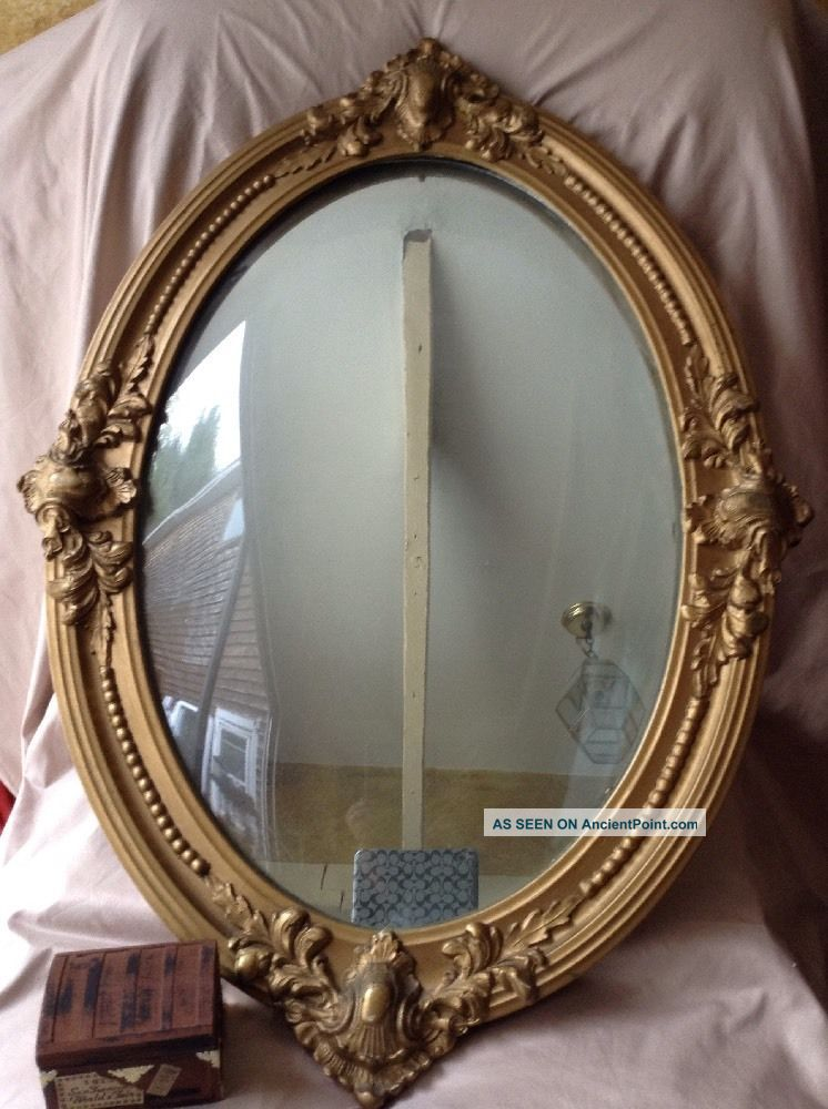 Antique French Rococo Carved Wood Mirror Oval Gold Gilt Gesso Frame Concave Glas Mirrors photo