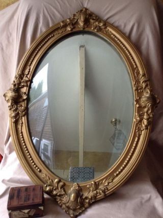 Antique French Rococo Carved Wood Mirror Oval Gold Gilt Gesso Frame Concave Glas photo