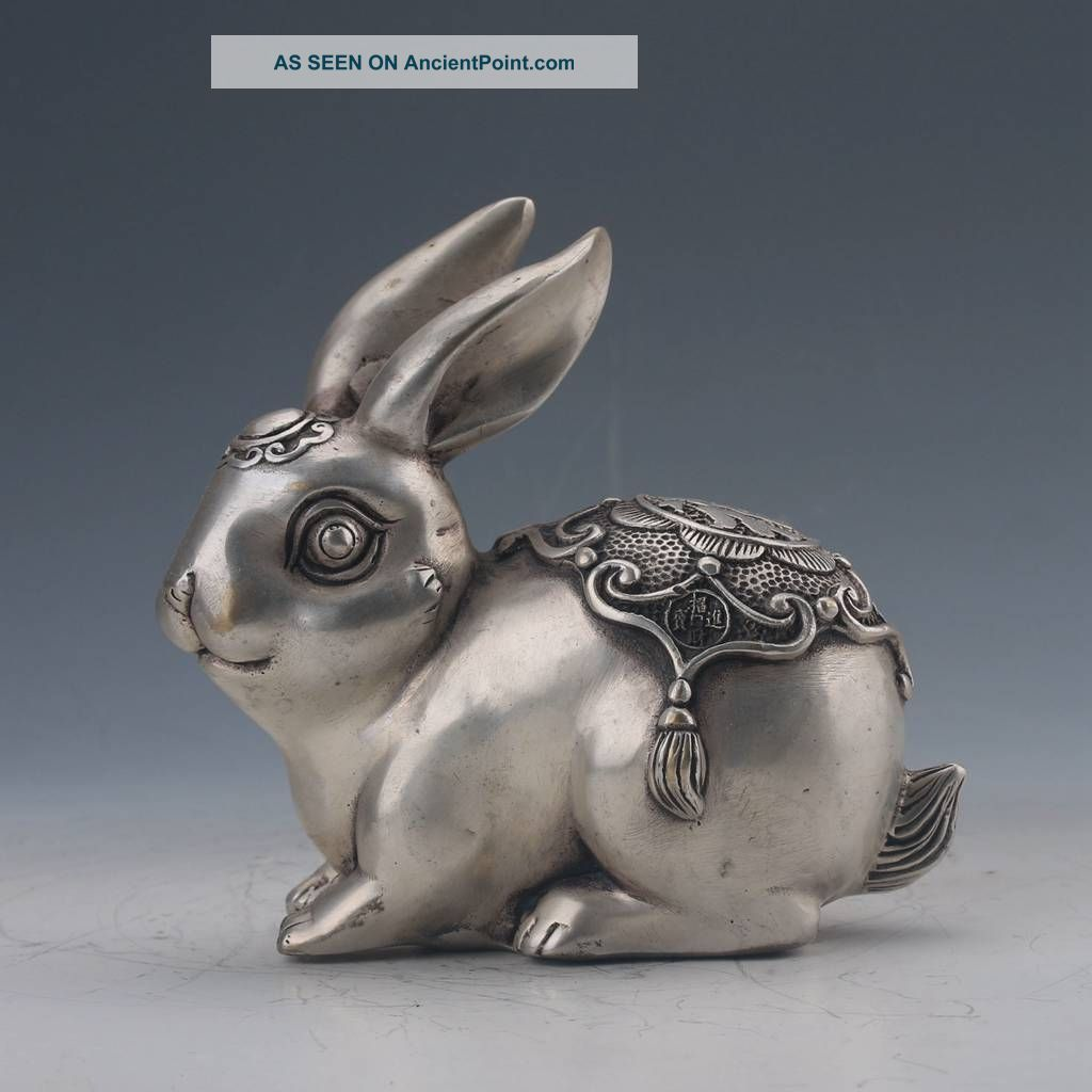 Chinese Cupronickel Carved Rabbit Statue Qing Dynasty Mark Figurines & Statues photo