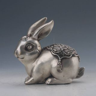 Chinese Cupronickel Carved Rabbit Statue Qing Dynasty Mark photo