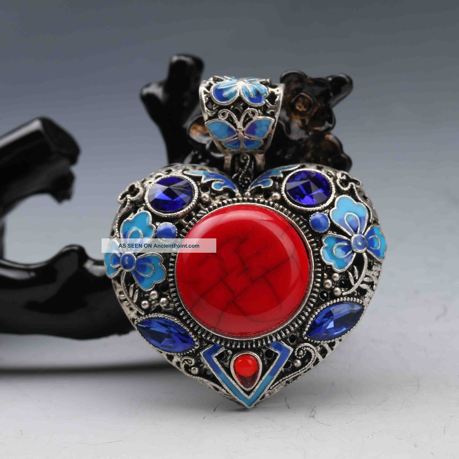 Tibetan Silver Cloisonne Inlay Natural Red Coral Heart Shape Pendant 01 Necklaces & Pendants photo