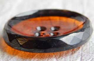 Vintage Glass Button Amber 236 - A photo