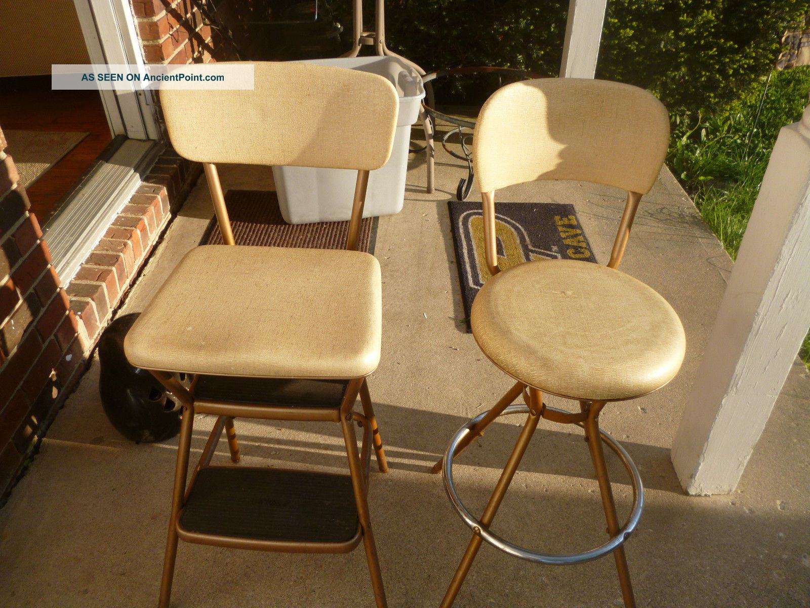 2 Vintage Mid - Century Cosco Chrome Swivel Stool & Flip Up Step Stool Chair Mid-Century Modernism photo