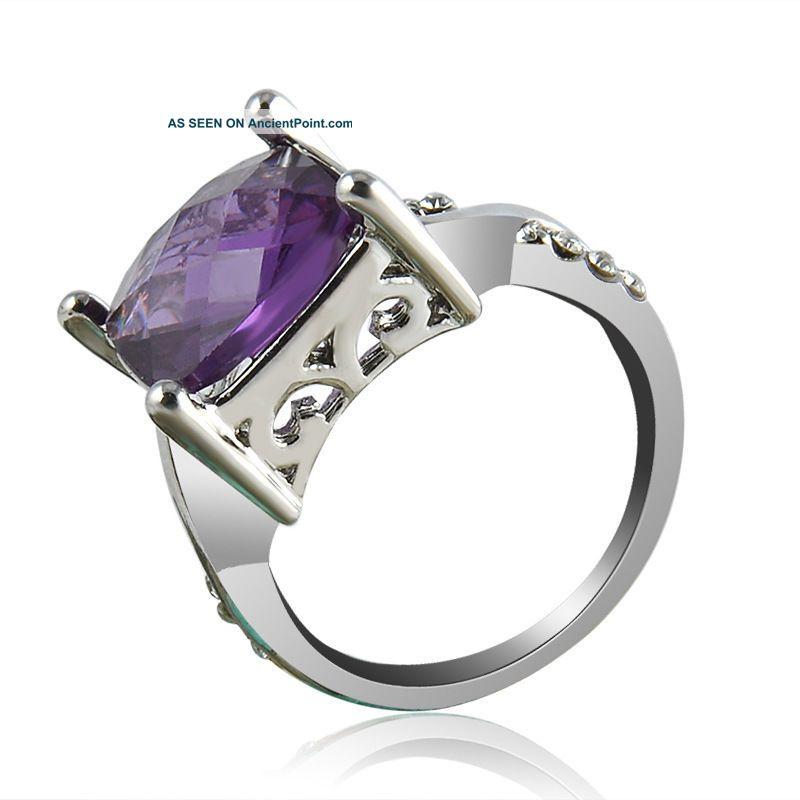 Fashion Women Tourmaline White Topaz Gemstone Silver Purple Ring Jewelry Cx56 Arts & Crafts Movement photo