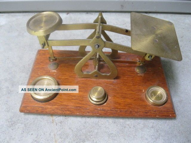 Vintage Jewelry Apothecary Gold Scales,  Weights Made England Warranted Accuracy Scales photo