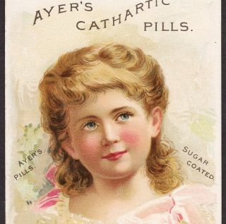 Dr Ayers Family Medicine Cathartic Pills Lowell Ma 1800 ' S Advertising Trade Card photo