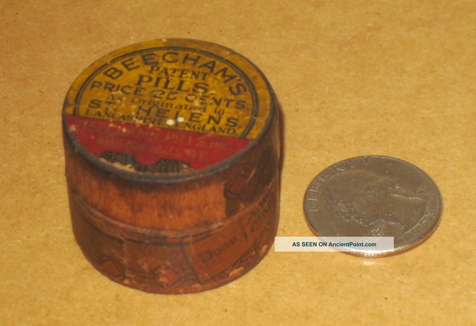 Antique Pill Box Wooden Beecham ' S Pills St Helens England And York Other Medical Antiques photo