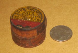 Antique Pill Box Wooden Beecham ' S Pills St Helens England And York photo