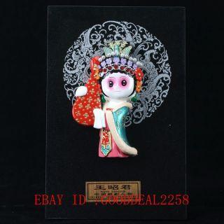 Chinese Lacquer Handmade Wang Zhao Jun Statue Lp11 photo