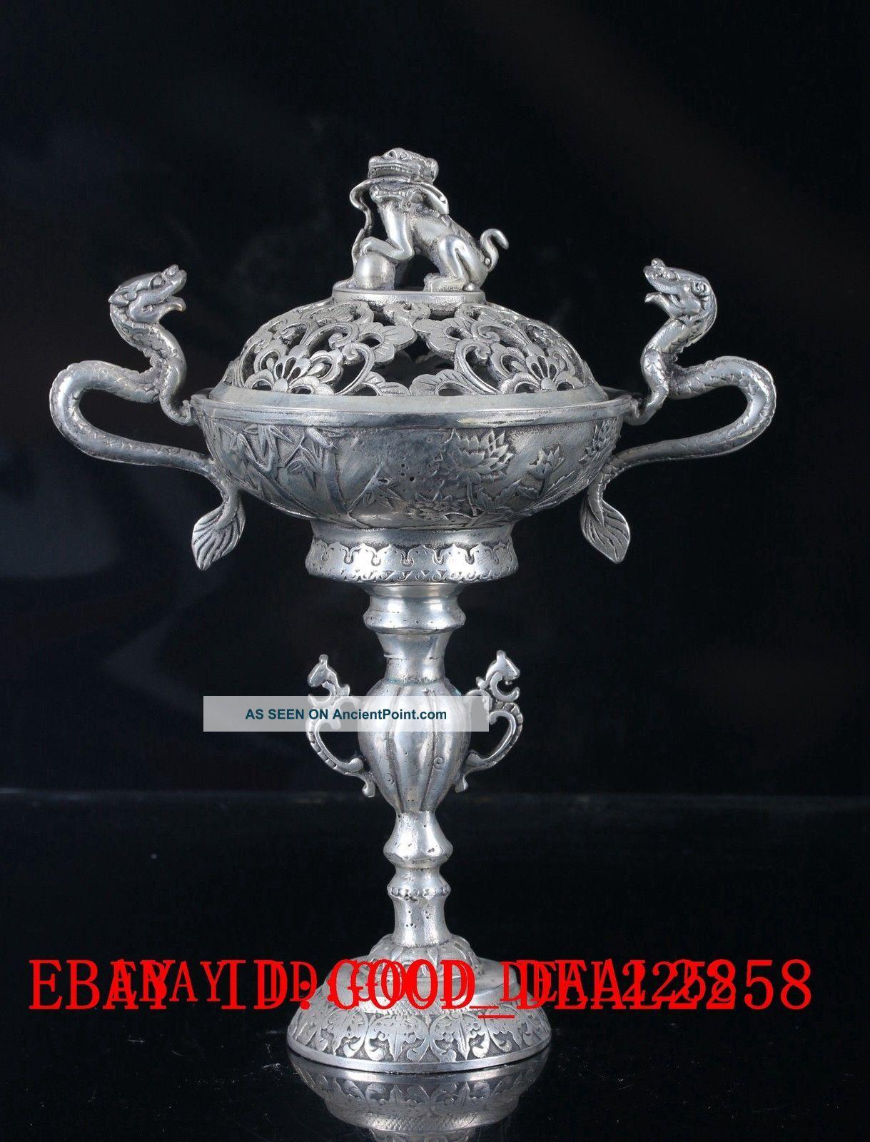 Old Tibet Gorgeous Silver Copper Handwork Carved Dragon& Lion Incense Burner Incense Burners photo