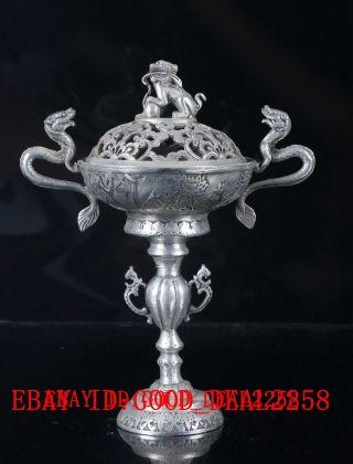 Old Tibet Gorgeous Silver Copper Handwork Carved Dragon& Lion Incense Burner photo
