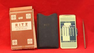 Vintage Ritz Metal Pocket Calculator Adding Machine Stylus Case photo