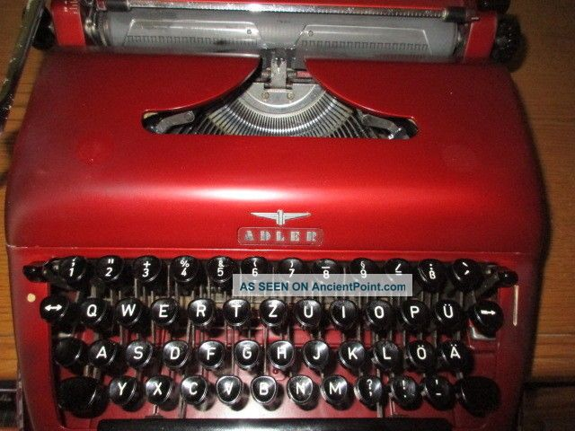 Vintage Metal Typewriter By Adler Kleyer In Burgundy Maroon With Case 40s 50s Art Deco photo