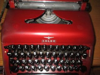 Vintage Metal Typewriter By Adler Kleyer In Burgundy Maroon With Case 40s 50s photo