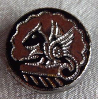 Antique Vintage Black Glass Picture Button Silver Luster Pegasus 132 - B photo