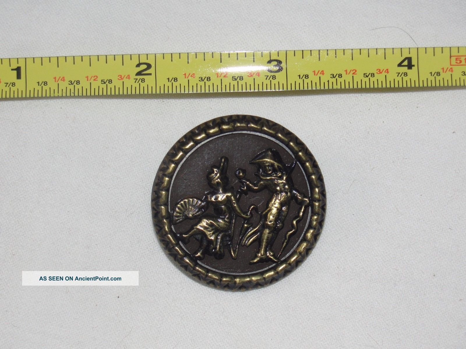 Estate Found Antique,  Pictorial Button Of Man & Woman Courtship From Collector Buttons photo